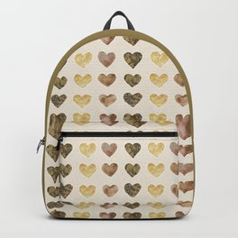 Gold and Chocolate Brown Hearts Backpack