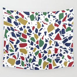 Terrazzo Spot Color on White Wall Tapestry