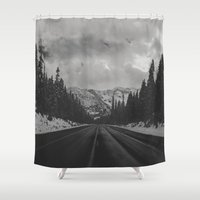 snowboard Shower Curtains featuring December Road Trip in the Pacific Northwest by Leah Flores