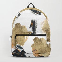 Artistic watercolor black orange gold brushstrokes Backpack