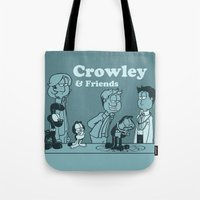 crowley Tote Bags featuring Crowley & Friends - Supernatural by Justyna Rerak