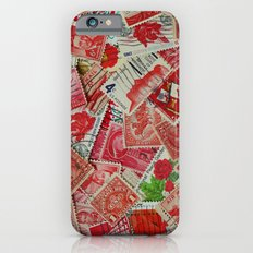 Vintage Postage Stamp Collection - Red iPhone 6s Slim Case