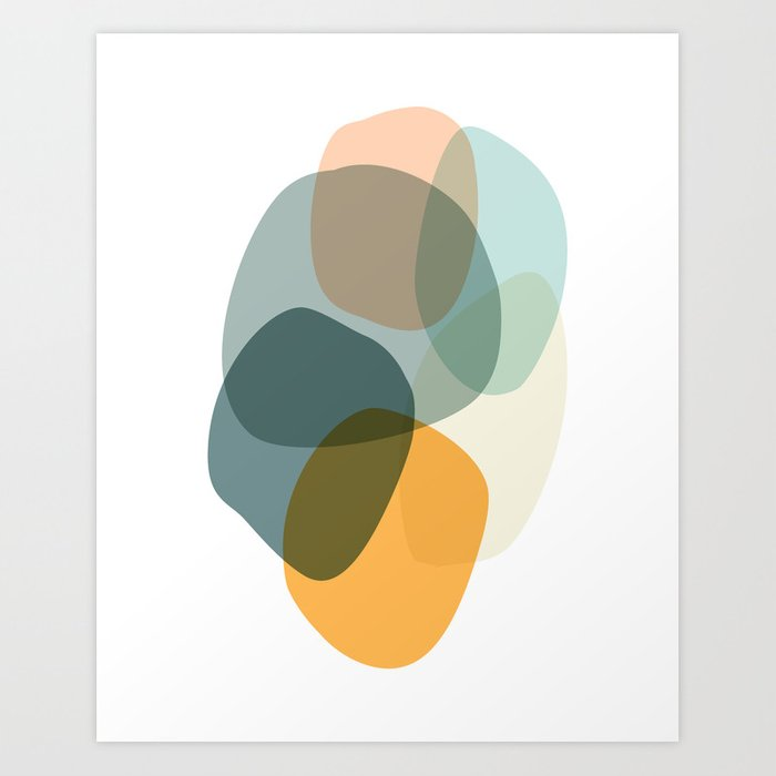 Cool Zen Abstract Organic Shapes Art Print By Junejournal