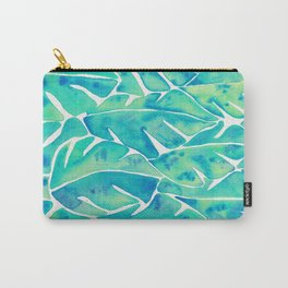 Split Leaf Philodendron – Turquoise Carry-All Pouch