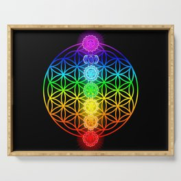 Flower of Life with Chakras Serving Tray