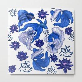 Chinoiserie Fighting Fish Metal Print