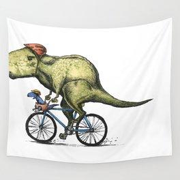 Dino Cycler Wall Tapestry
