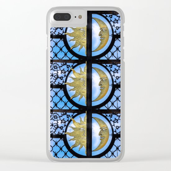 Sun and Moon pattern Clear iPhone Case