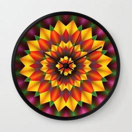 Abstract colorful flowers Mandala Wall Clock