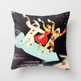 Vintage Viareggio carnival Italian travel ad  Throw Pillow