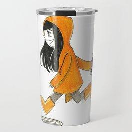 Running with my rain coat Travel Mug