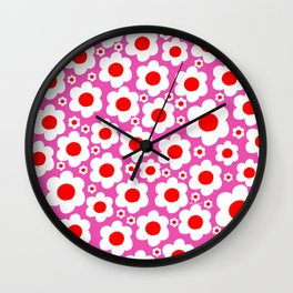 Pink Red White Pop Flowers Wall Clock