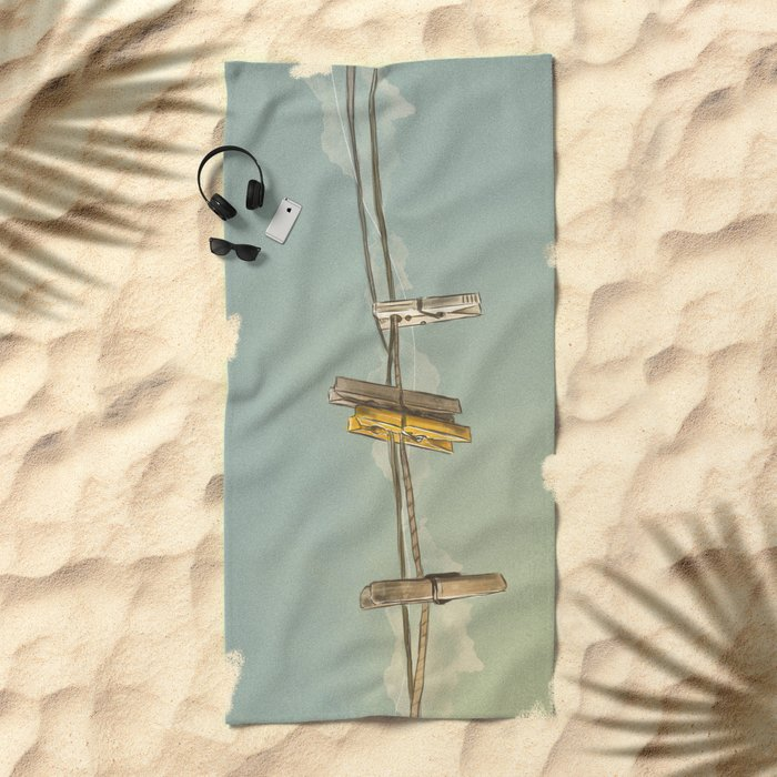 Vintage Clothespin Beach Towel