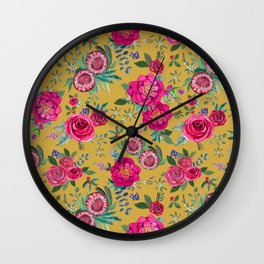 Mustard yellow floral autumn / fall flowers and berries Wall Clock