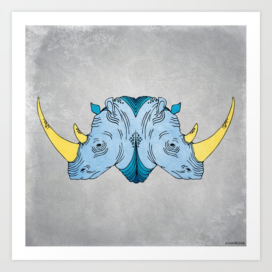 Double Trouble - Rhino Art Print