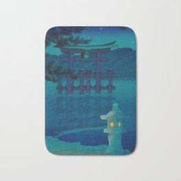 Japanese Woodblock print Torii In The Lake During Night Blue Monochromatic Bath Mat