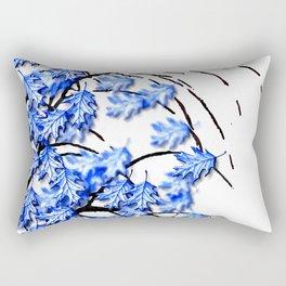 Oak Leaves Blue Rectangular Pillow