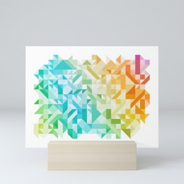 Colorful Geometric Pattern Saturated Rainbow Pattern Design (Red Pink Orange Yellow Green Blue) Mini Art Print