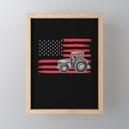 American Flag Farm Tractor Patriotic Farming Framed Mini Art Print