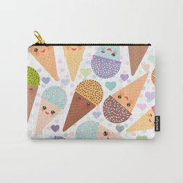 Kawaii funny Ice cream waffle cone, with pink cheeks and winking eyes Carry-All Pouch