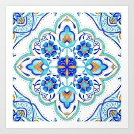 Hand Painted Moroccan Tiles - Aqua and Gold Art Print