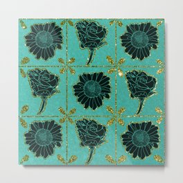 Tiled Linocut Flowers with Glitter on Teal Background Metal Print
