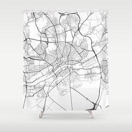 Frankfurt Map, Germany - Black and White Shower Curtain
