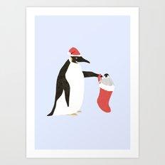 Holiday Penguins Art Print