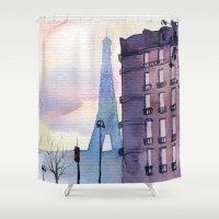 paris Shower Curtains featuring Paris by Emma Reznikova