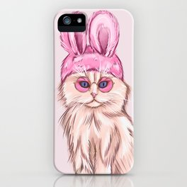 illustration of a golden cat with retro pink glasses and a rabbit ears hat iPhone Case