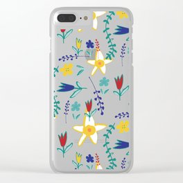 Floral The Tortoise and the Hare is one of Aesop Fables pink Clear iPhone Case