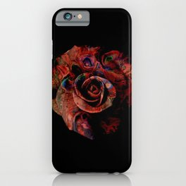 Fluid Nature - Marbled Red Rose iPhone Case