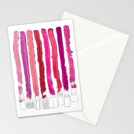 Lipstick Stripes - Floral Fuschia Red Stationery Cards