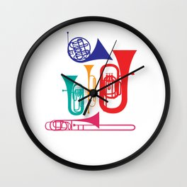 Colorful Wind Musical Instrument Musician Player Wall Clock