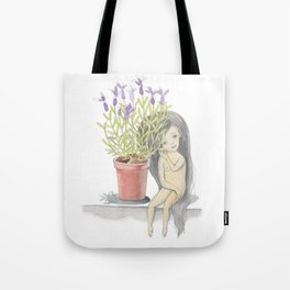 listening to the lavender's breath Tote Bag