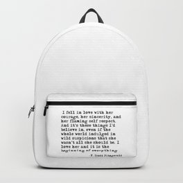 I fell in love with her courage - F Scott Fitzgerald Backpack