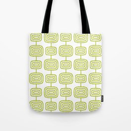 Mid Century Modern Atomic Rings Pattern Chartreuse 3 Tote Bag