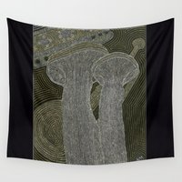 trumpet Wall Tapestries featuring King Trumpet Mushrooms by AnandaMorningstar