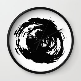 Whorl Black on White Wall Clock