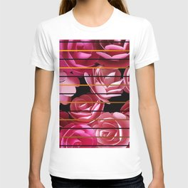 Pink Roses Pattern And Gold And Black Stripes T-shirt