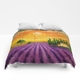 Lavender field at sunset Comforters