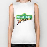 sesame street Biker Tanks featuring Sesame Street Fighter by Franz24