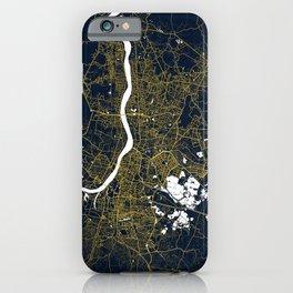 Kolkata City Map of India - Gold Art Deco iPhone Case