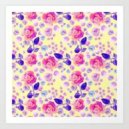 Rosaful rose pattern #Lemon Art Print