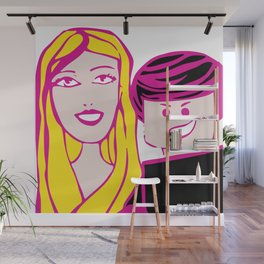 Plastic Couple In Pink Wall Mural