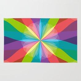 Squared Pinwheel of Bright Crayon Colors Rug