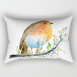 Watercolor Robin on Berry Branch Rectangular Pillow