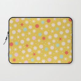 Vintage Christmas Wrapping Paper Pattern Design Mustard Stars & Dots Laptop Sleeve