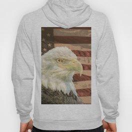 Rustic Bald Eagle on American Flag A213 Hoody