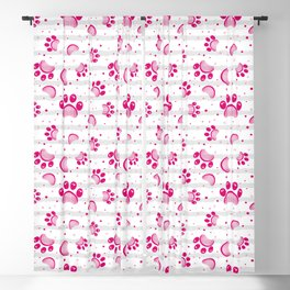Paw print seamless pattern  in pink color Blackout Curtain